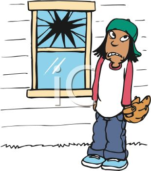 Royalty Free Clipart Image: Boy Who Threw a Baseball Through a Window.