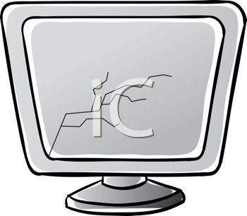 Royalty Free Clip Art Image: Broken Computer Screen.