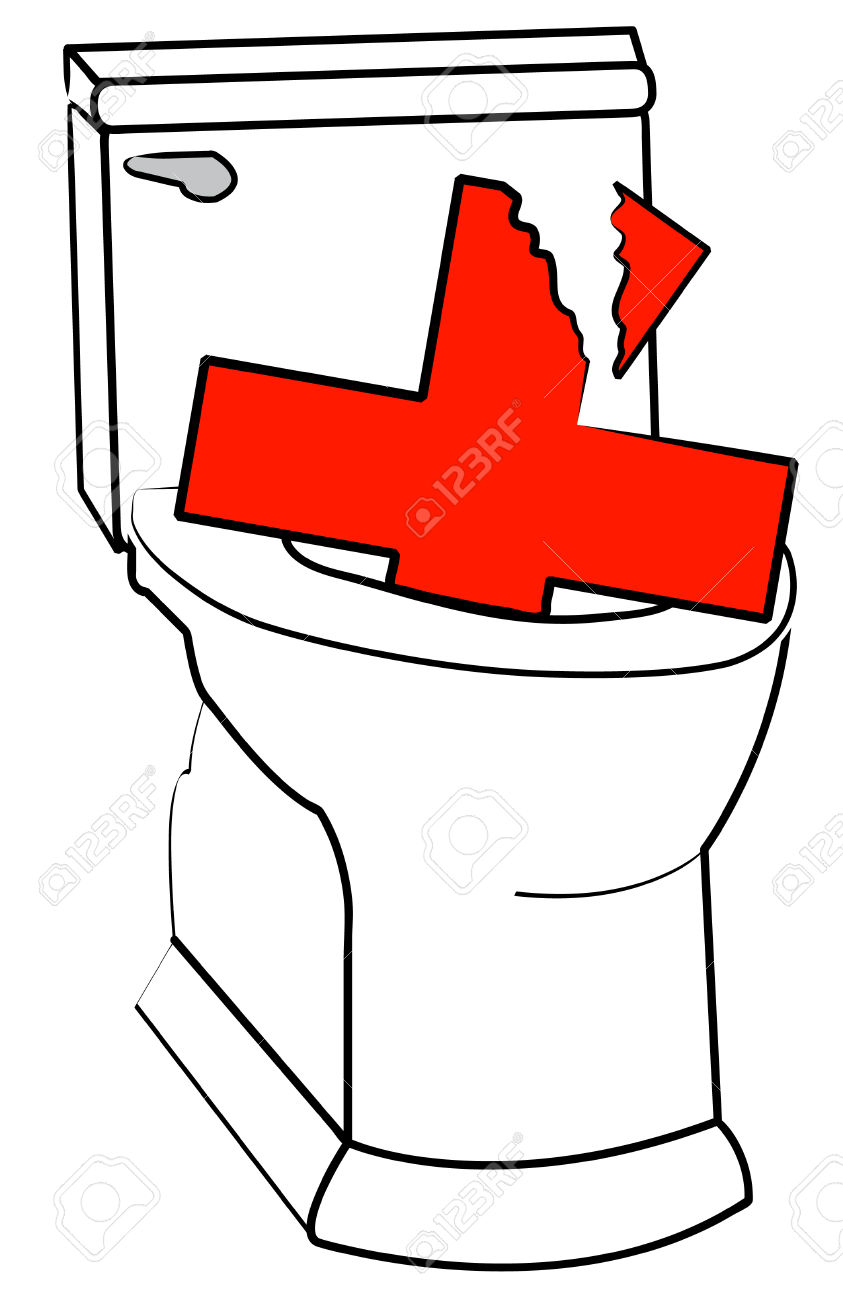 Broken Health Care Symbol And Toilet.