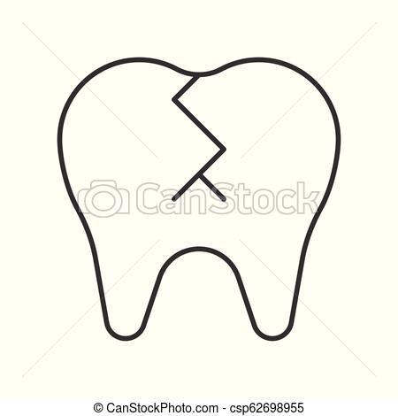 broken tooth, simple outline icon dental care set.