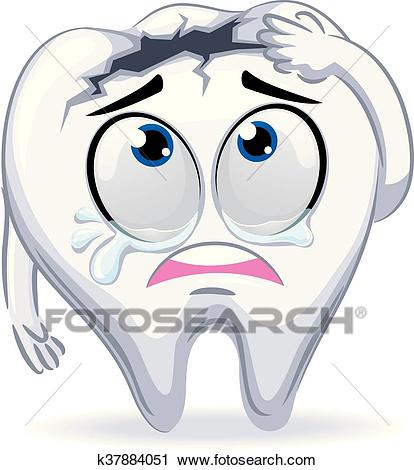Crying Mascot Broken Tooth Clipart.