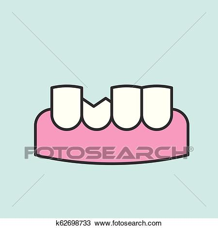 Broken or chipped tooth, dental related icon, filled outline Clipart.