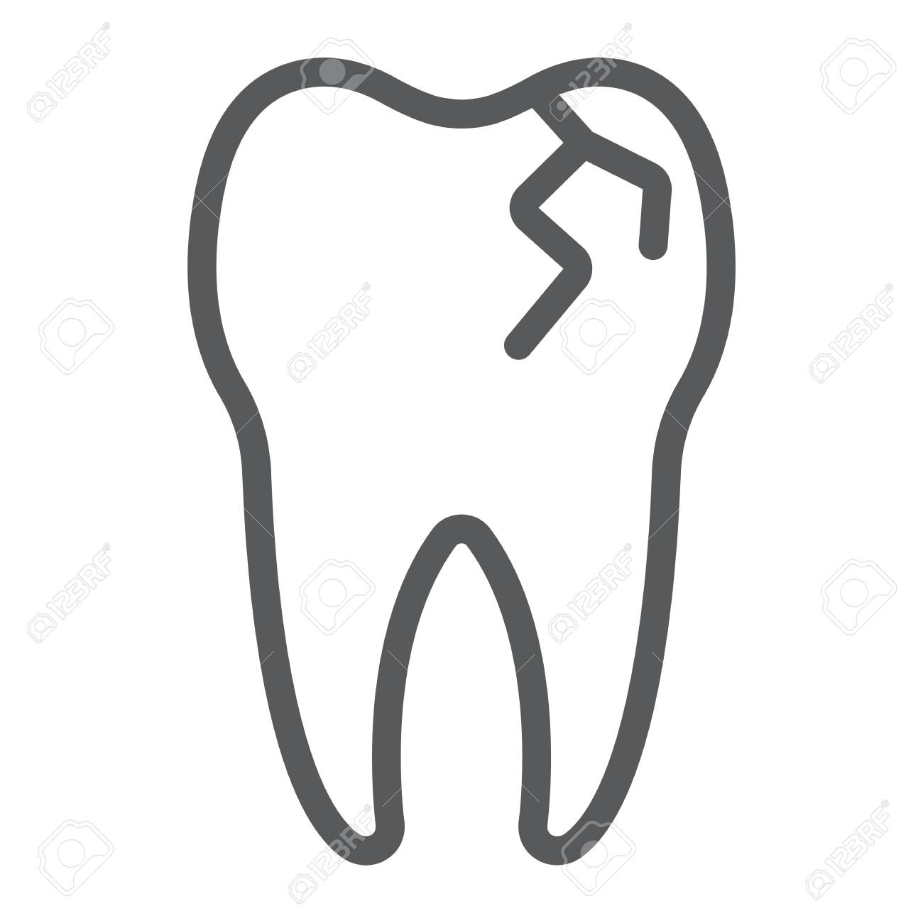 Cracked tooth line icon, stomatology and dental, broken tooth...