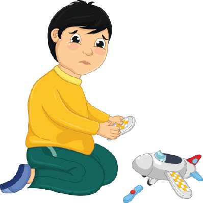 Boy with His Broken Toy Illustration.