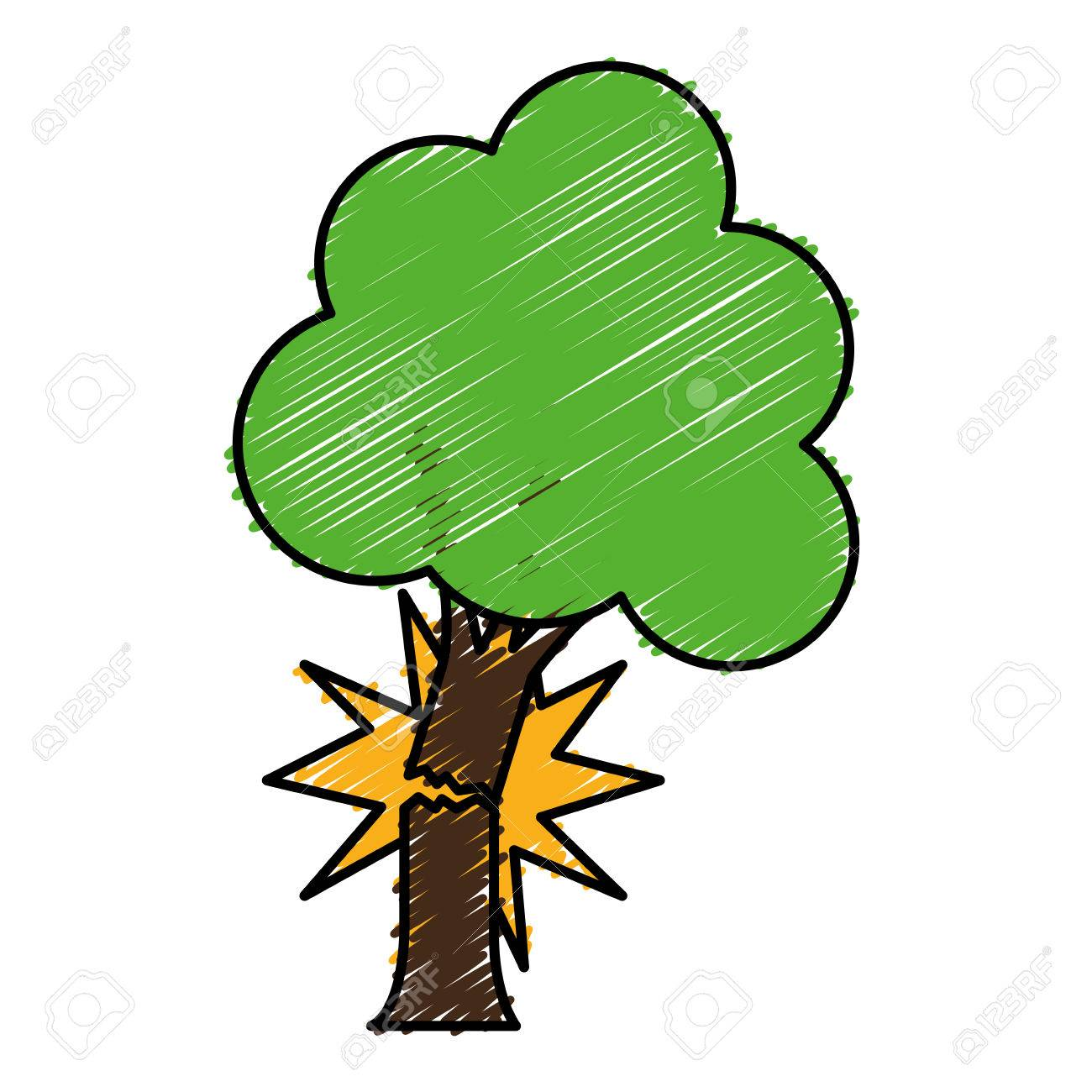 tree with broken trunk icon over white background. colorful design.