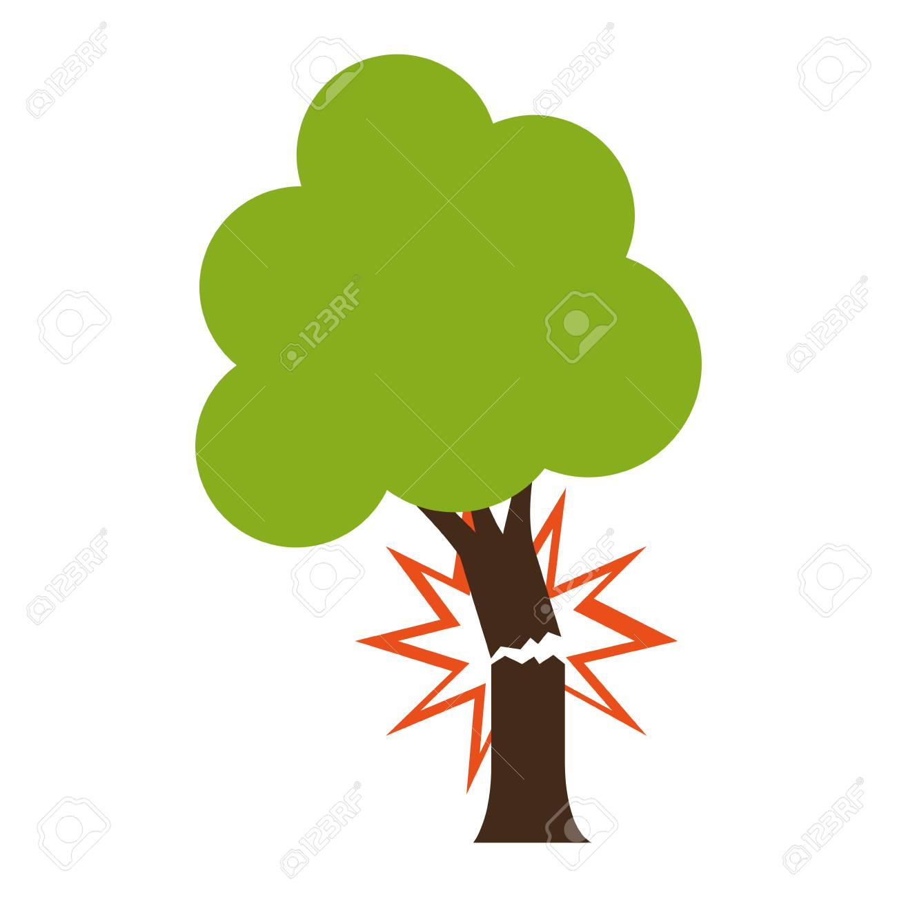 Tree with broken trunk icon over white background. colorful...
