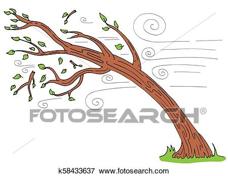 Windy Day Tree Bending Broken Branches Clip Art.
