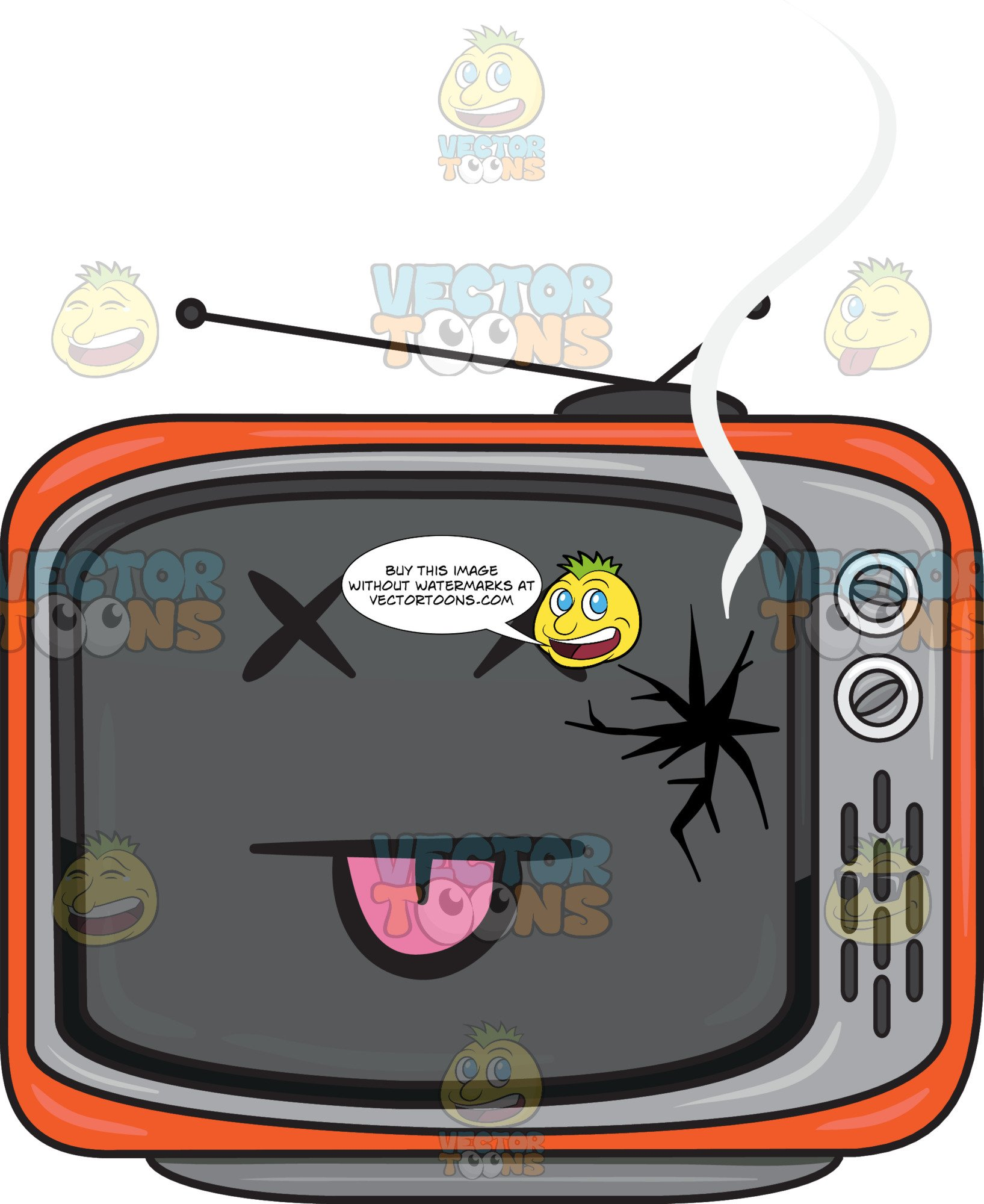 A Broken Retro Tv Set.