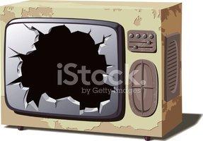 Old Broken TV Stock Vector.