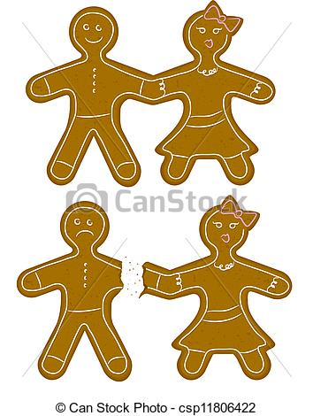 Vector Illustration of Gingerbread Couple Break Up.
