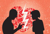Clipart of Broken up love. Conceptual illustration of the conflict.