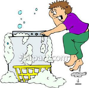 Overflowing Washing Machine Clipart.