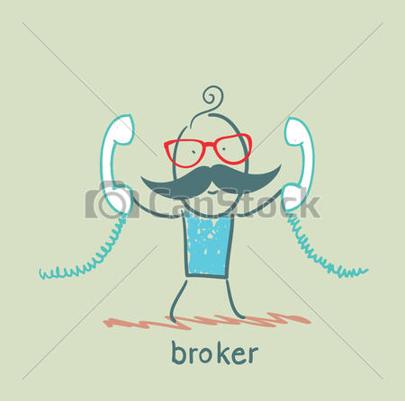Vectors Illustration of broker with two handsets csp15775074.