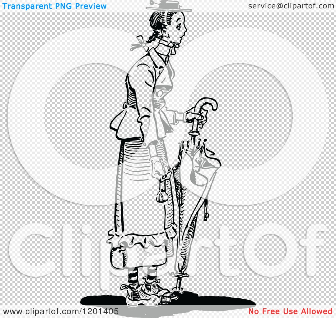 Clipart of a Vintage Black and White Brolly Lady.