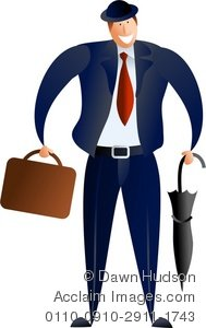 Clipart Illustration of A Business Man Holding Briefcase and.