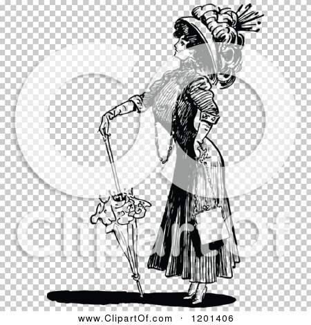 Clipart of a Vintage Black and White Brolly Lady 2.