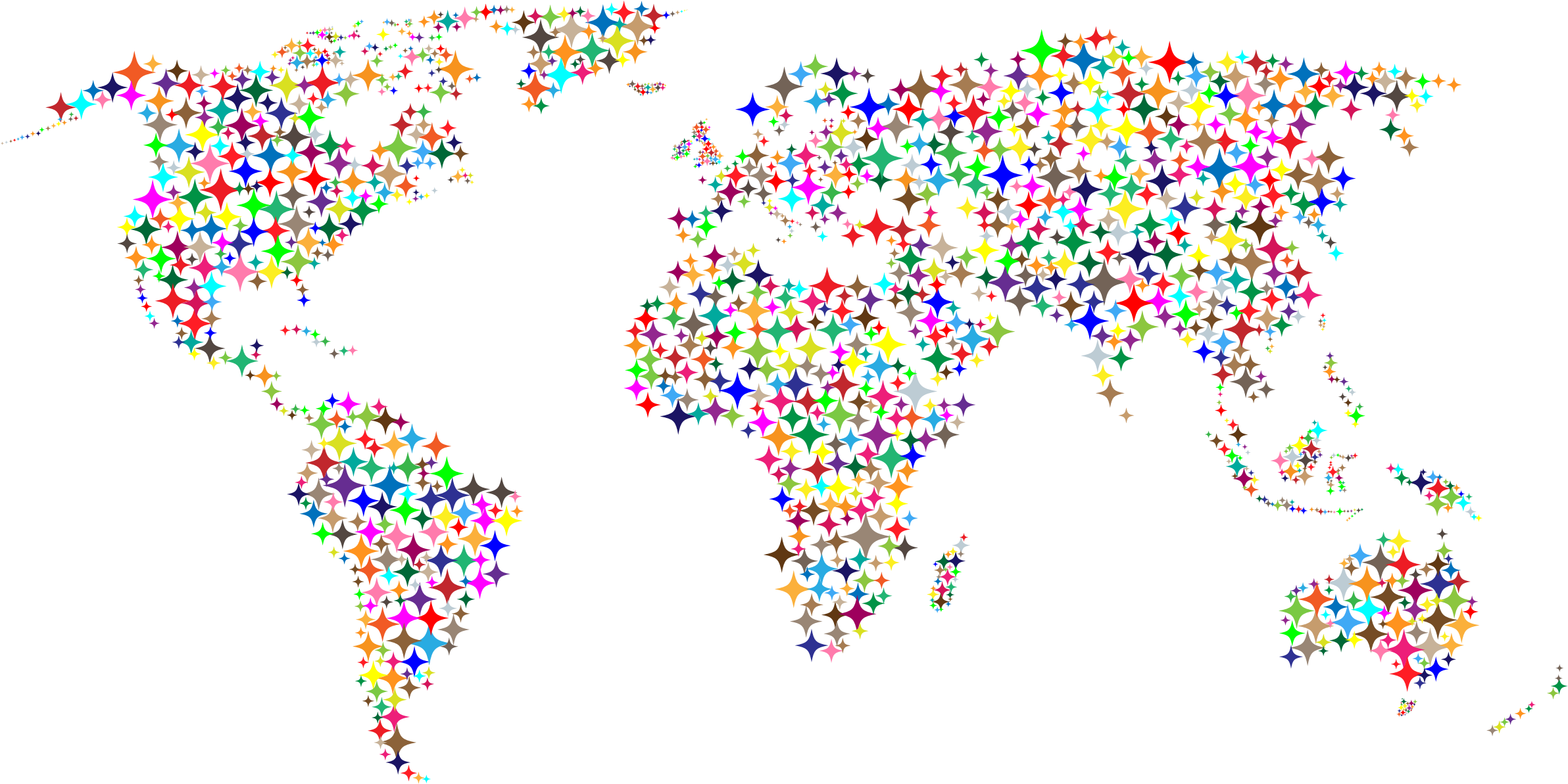 Clipart Colorful Diamonds World Map.
