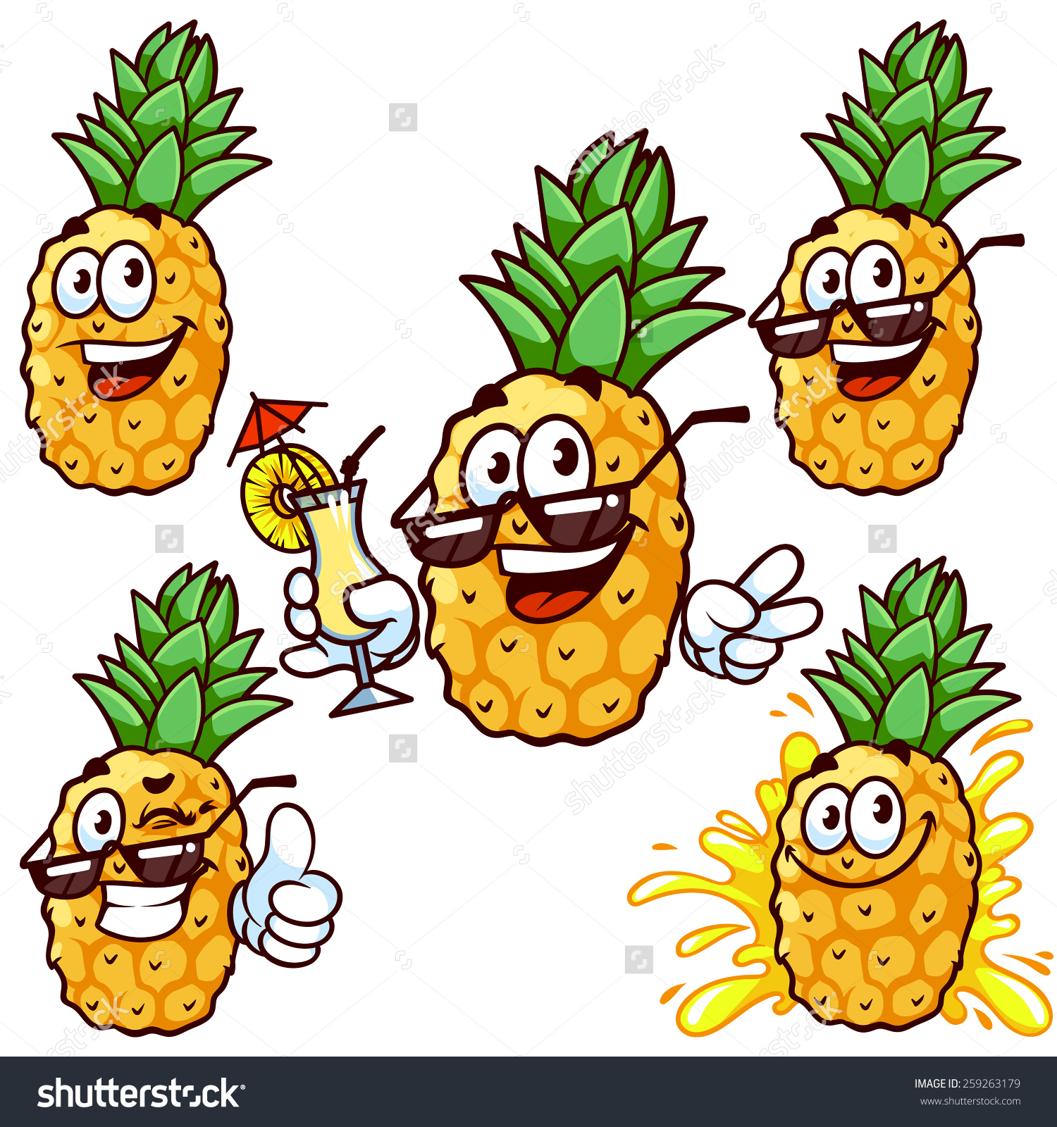 Set Cartoon Character Happy Pineapple Sun Stock Vector 259263179.