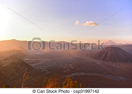 Stock Photo of View of Mount Bromo, Batok and Cemoro Lawang.