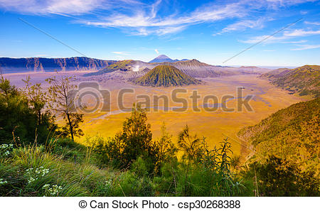 Pictures of Bromo volcano at sunrise, East Java, Indonesia.