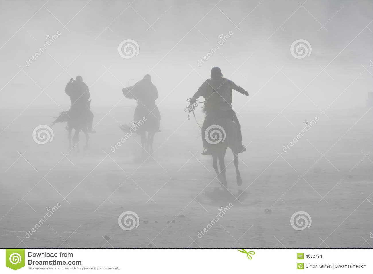 Sand Storm Horse Riders Mount Bromo Stock Images.