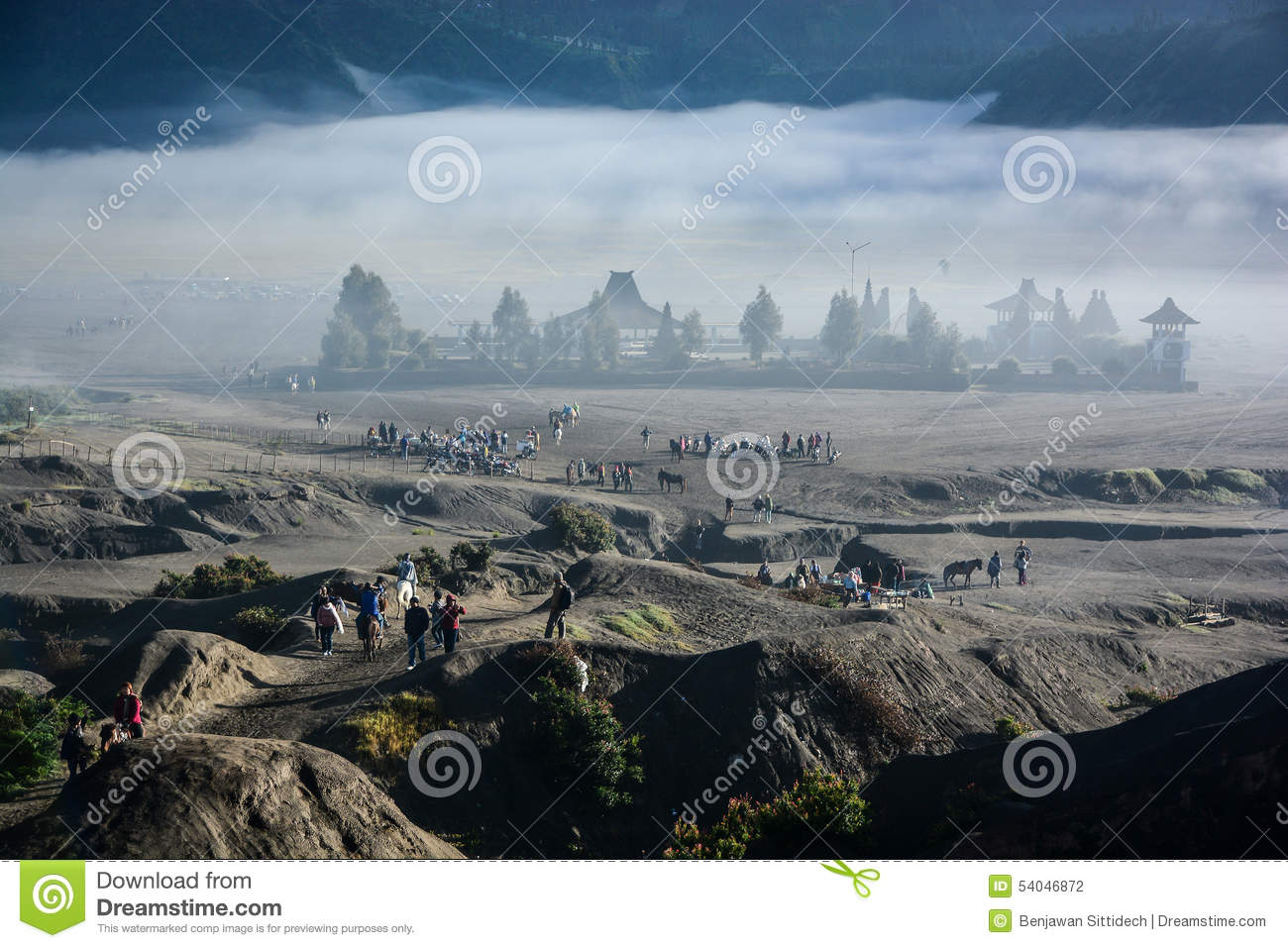 Candi Bentar Temple From Crater Of Mount Bromo Editorial.