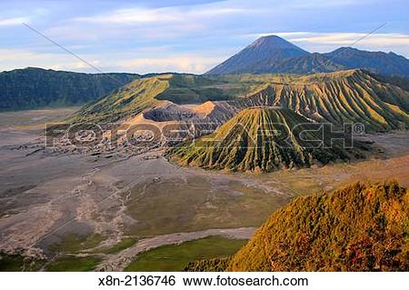 Stock Images of Sunset view of mount Bromo from Penanjakan.