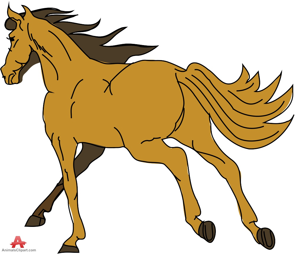 Running Wild Bron Horse Clipart.