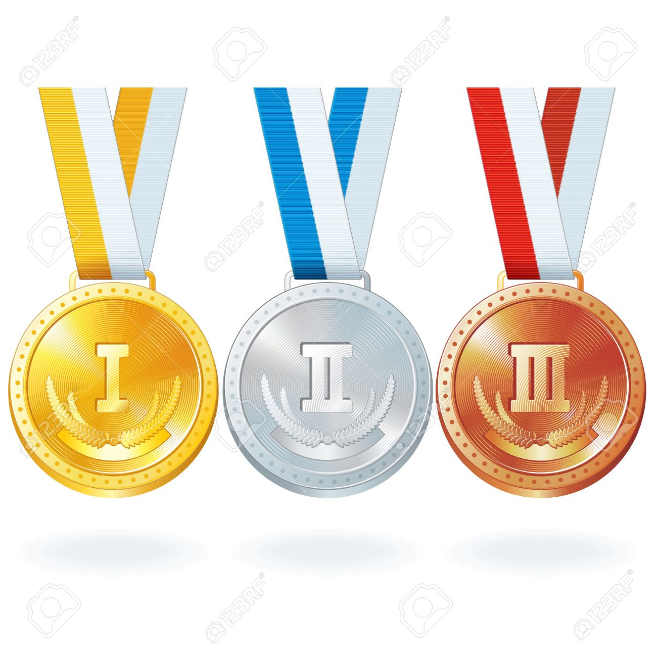 Tres Medallas De Oro Vector, Plata Y Bronce Ilustraciones.