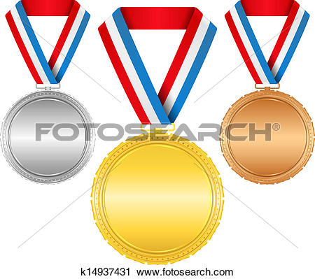 Clipart of Golden, silver and bronze medals with ribbons k14937431.