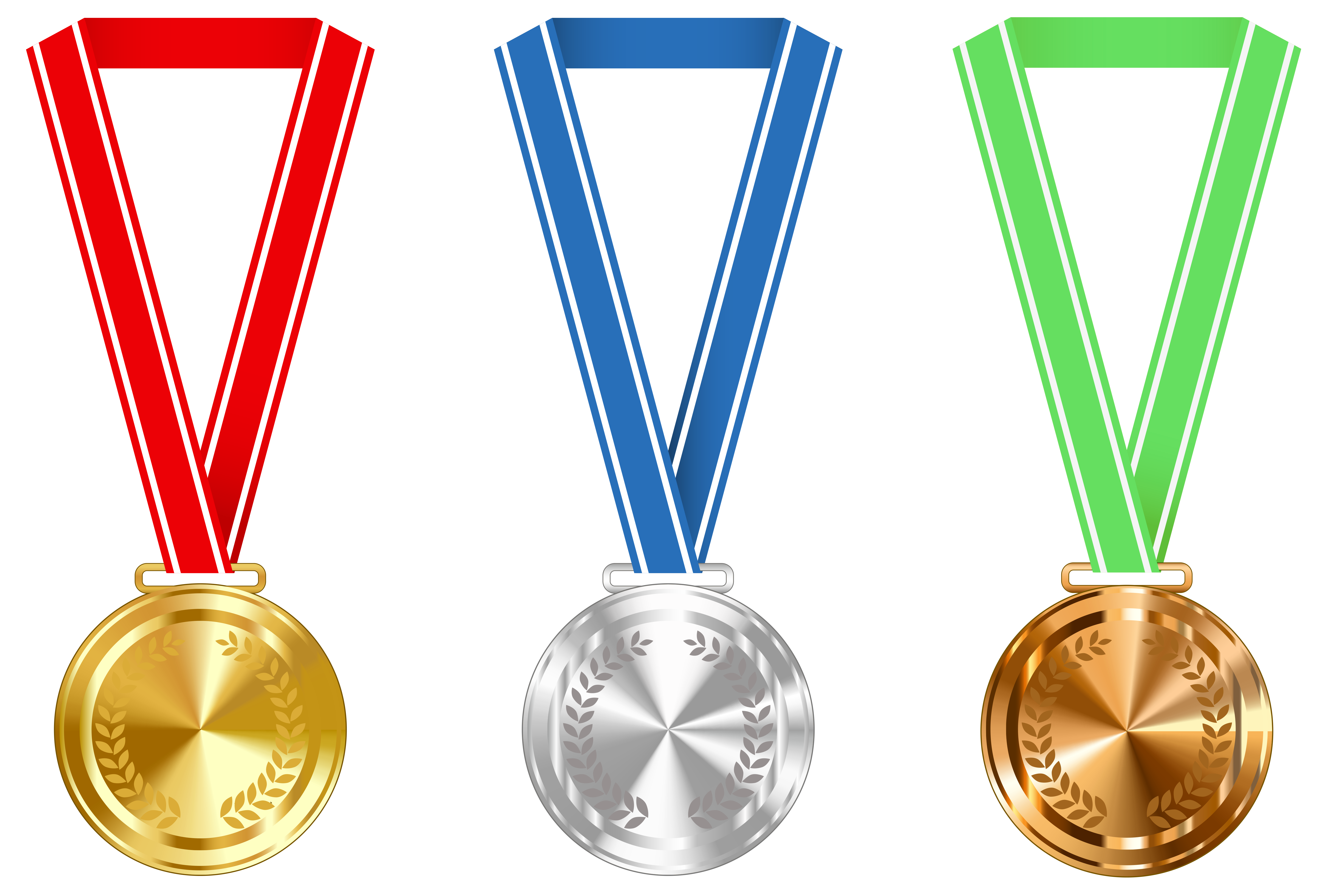 Gold Silver and Bronze Medals PNG Clipart Image.