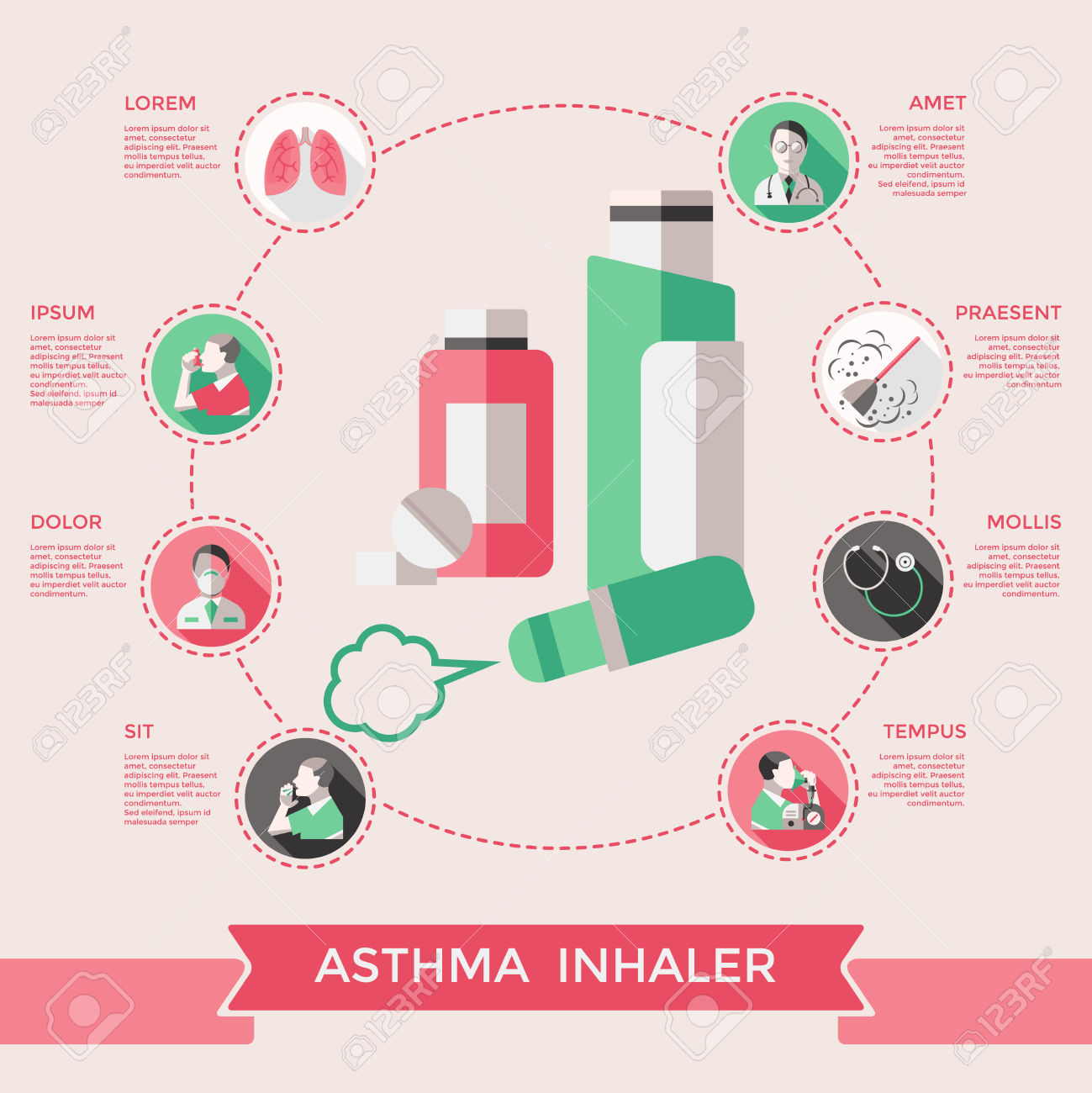 Asthma Inhaler Page Of Website With Lungs Bronchial Tubes Pills.