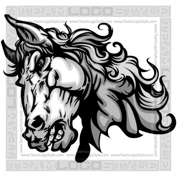 Bronco Head Clip Art.