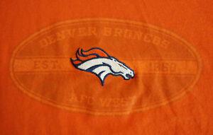 Details about Lg Orange NFL Denver Broncos Team Embroidered Bronco Logo  Short Sleeve T Shirt.