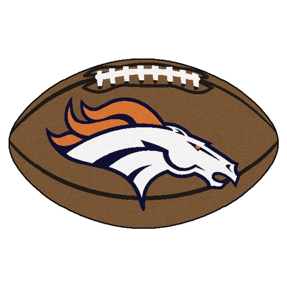 FANMATS NFL Denver Broncos Brown 2 ft. x 3 ft. Specialty Area Rug.