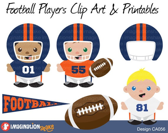 Denver Broncos Football Players Clip Art & Printables Set CA056 / Clipart /  Football Wall Decorations / Football Birthday Party Printables.