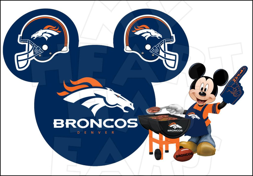 Denver Broncos football with Mickey Mouse INSTANT DOWNLOAD digital.