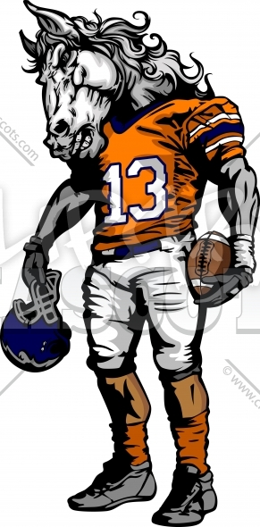 Bronco Football Clipart Graphic Vector Cartoon.