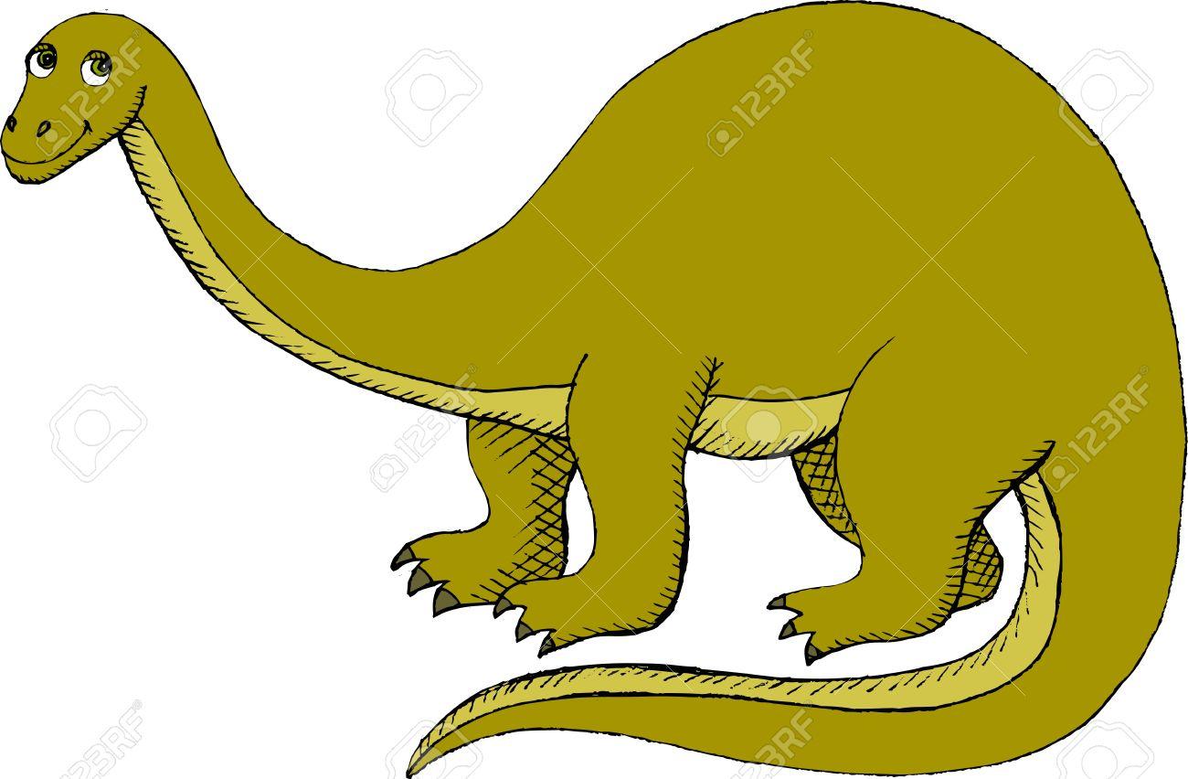 Vector Illustration Of Brontosaurus (Apatosaurus) Royalty Free.