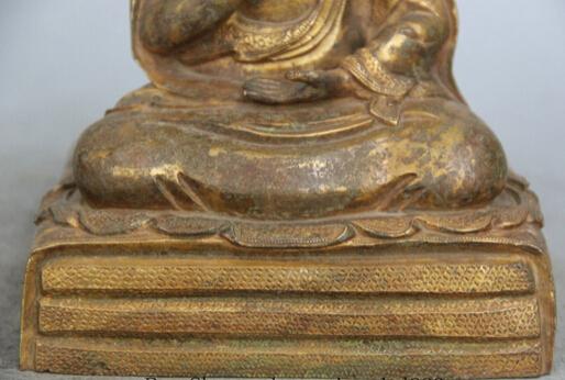 """JP S0524 9"""" Tibet Bronze 24K Gold Gilt Seat guru Lama Shakyamuni."""