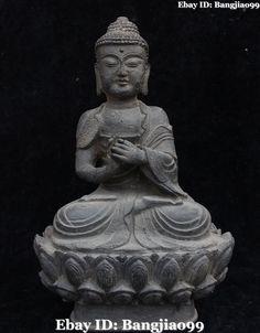 "8"" Old Tibet Stone Seat Sakyamuni Shakyamuni Amitabha Buddha."