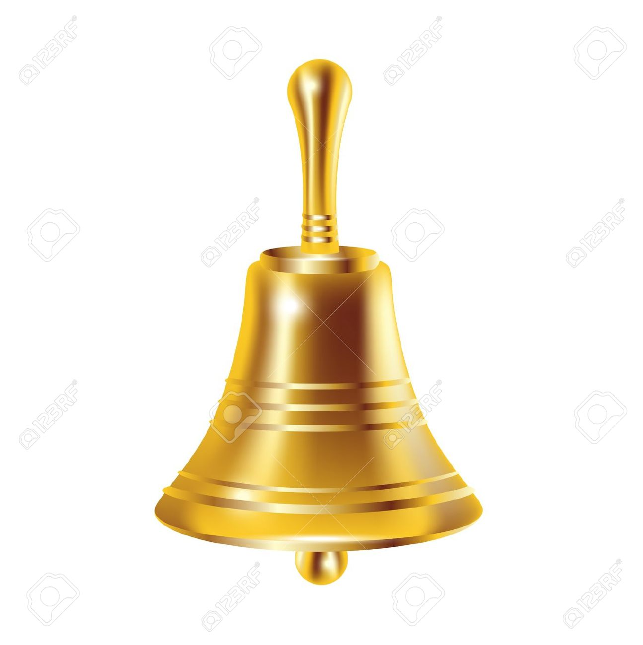 Single Bronze Bell Isolated On White Royalty Free Cliparts.