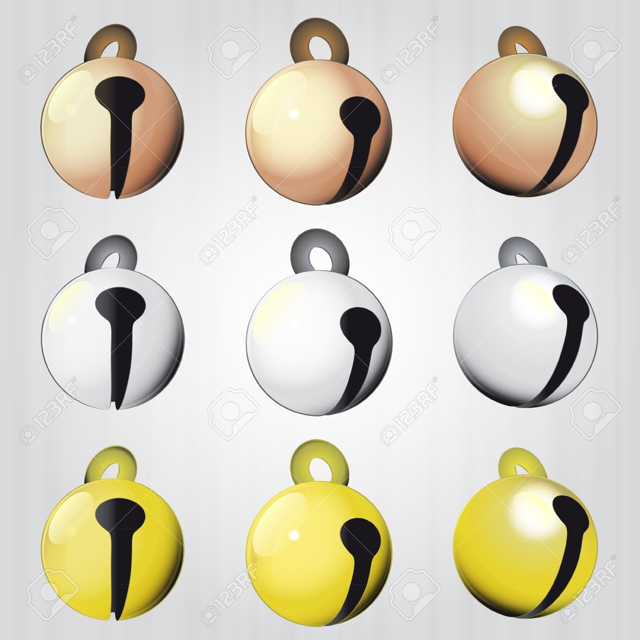 Bronze Silver And Gold Jingle Bells Vector Pack Illustration.