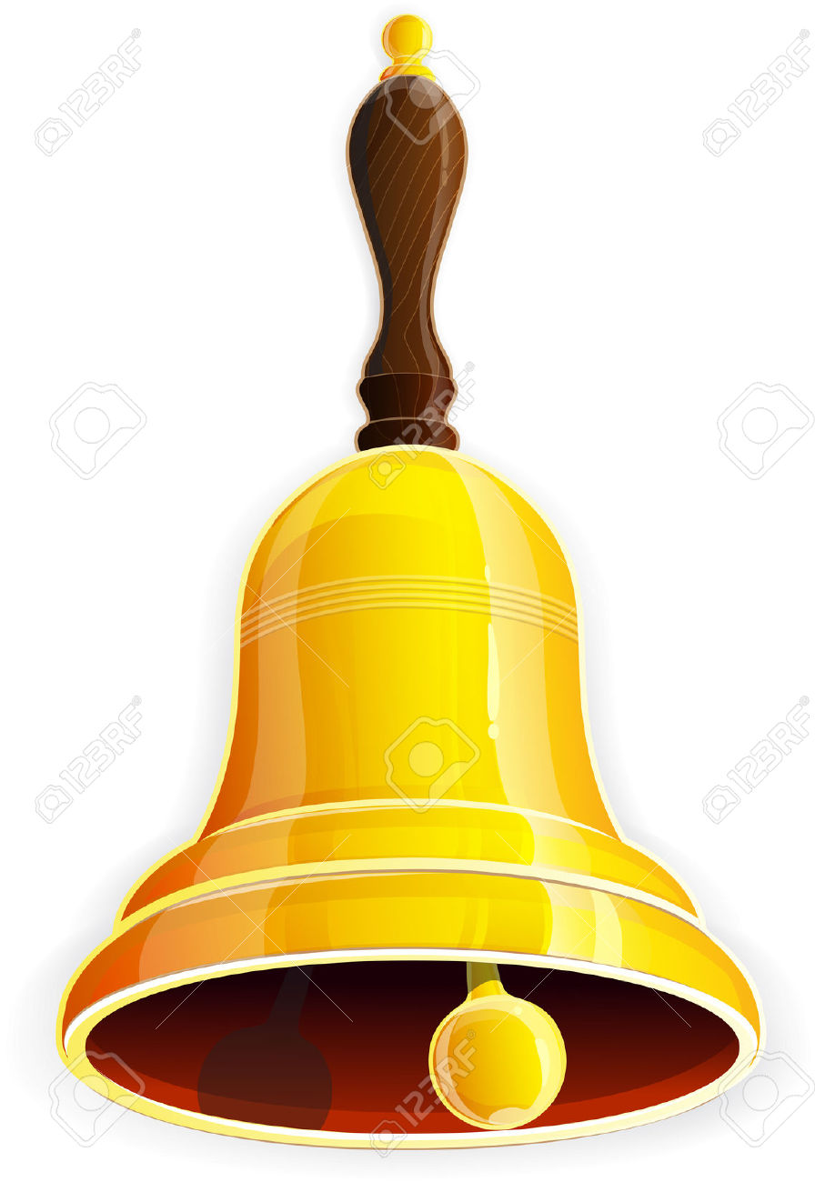 Bronze Bell With Wooden Handle On A White Background Royalty Free.
