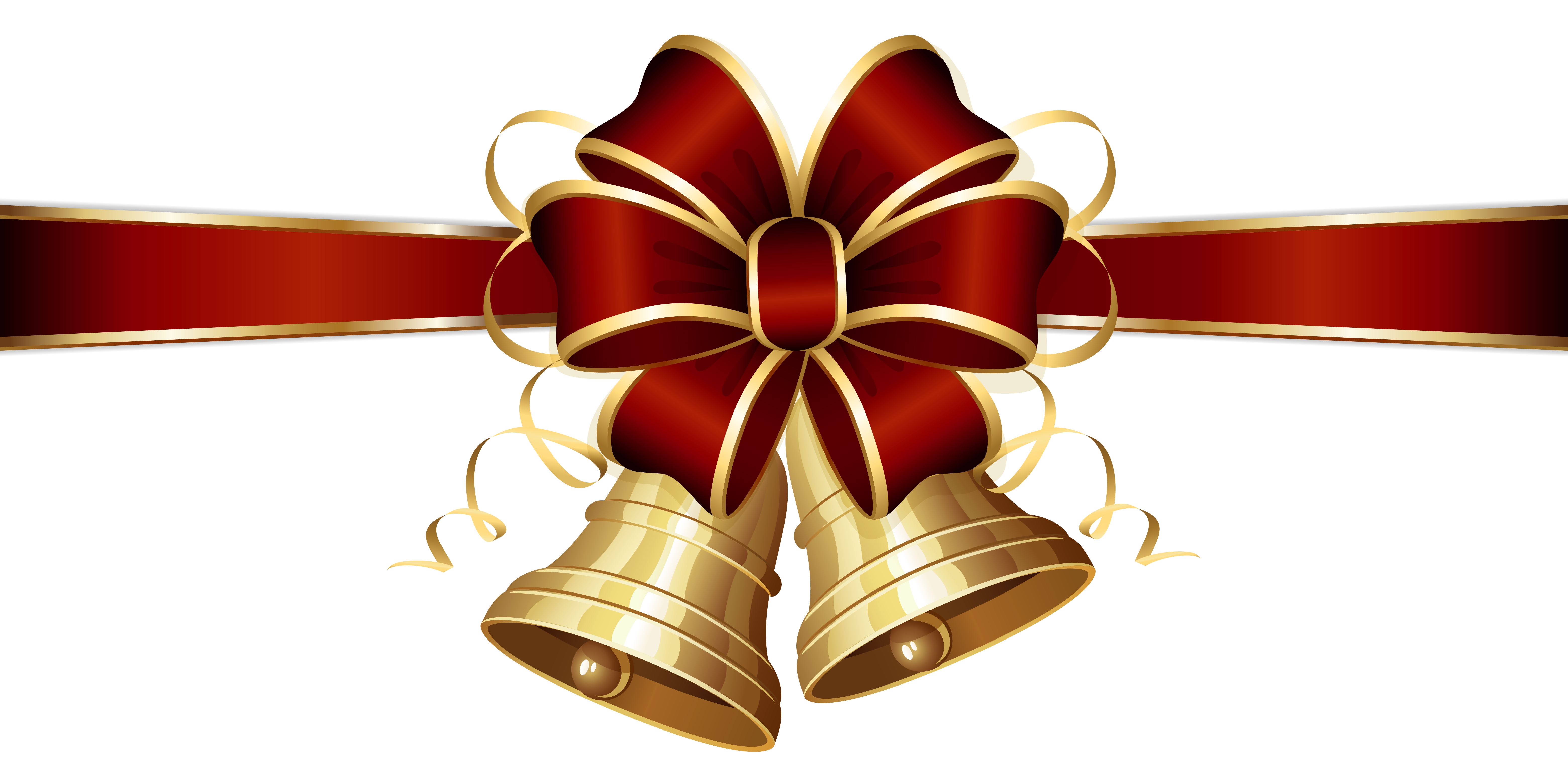 Christmas Bells and Red Bow PNG Clipart Image.