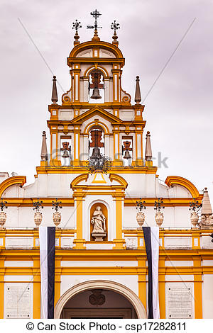 Stock Photography of Basilica de la Macarena Bell Tower with.