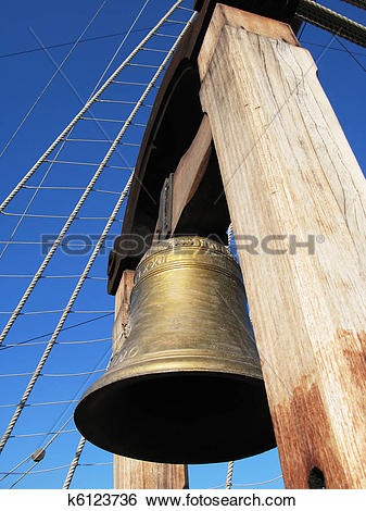 Stock Images of Bronze bell of an old Spanish Galleon k6123736.