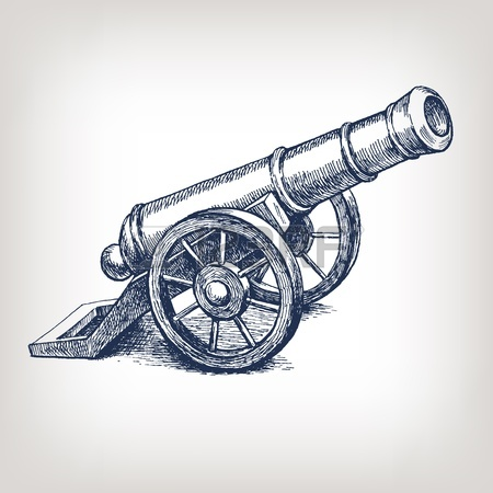 Vector Ancient Cannon Vintage Ink Engraving Illustration Arm.