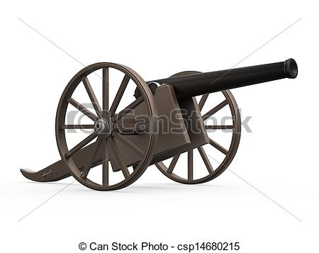Clipart of Old Cannon Isolated.
