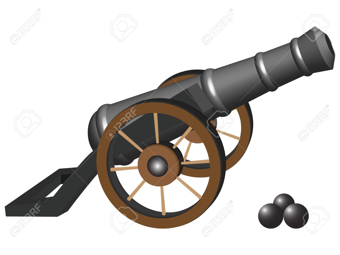 Ancient Cannon And Iron Balls Against White Background, Abstract.